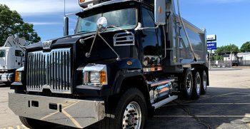 Black dump truck
